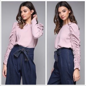 NEW! LAST TWO! PINK RUFFLE SLEEVE TOP